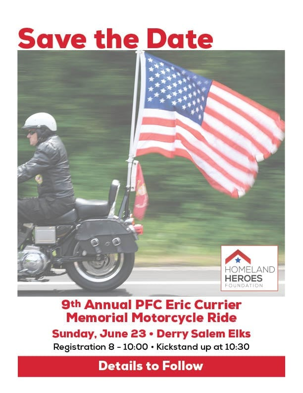 Save the Date - 9th Annual PFC Eric Currier Memorial Motorcycle Ride - June 23rd, 2019