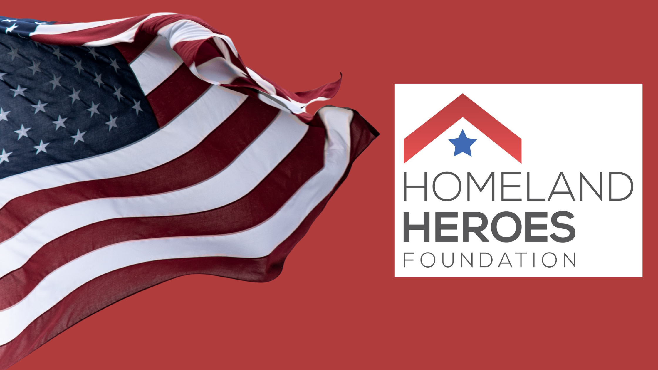 picture of american flag and homeland heroes foundation logo