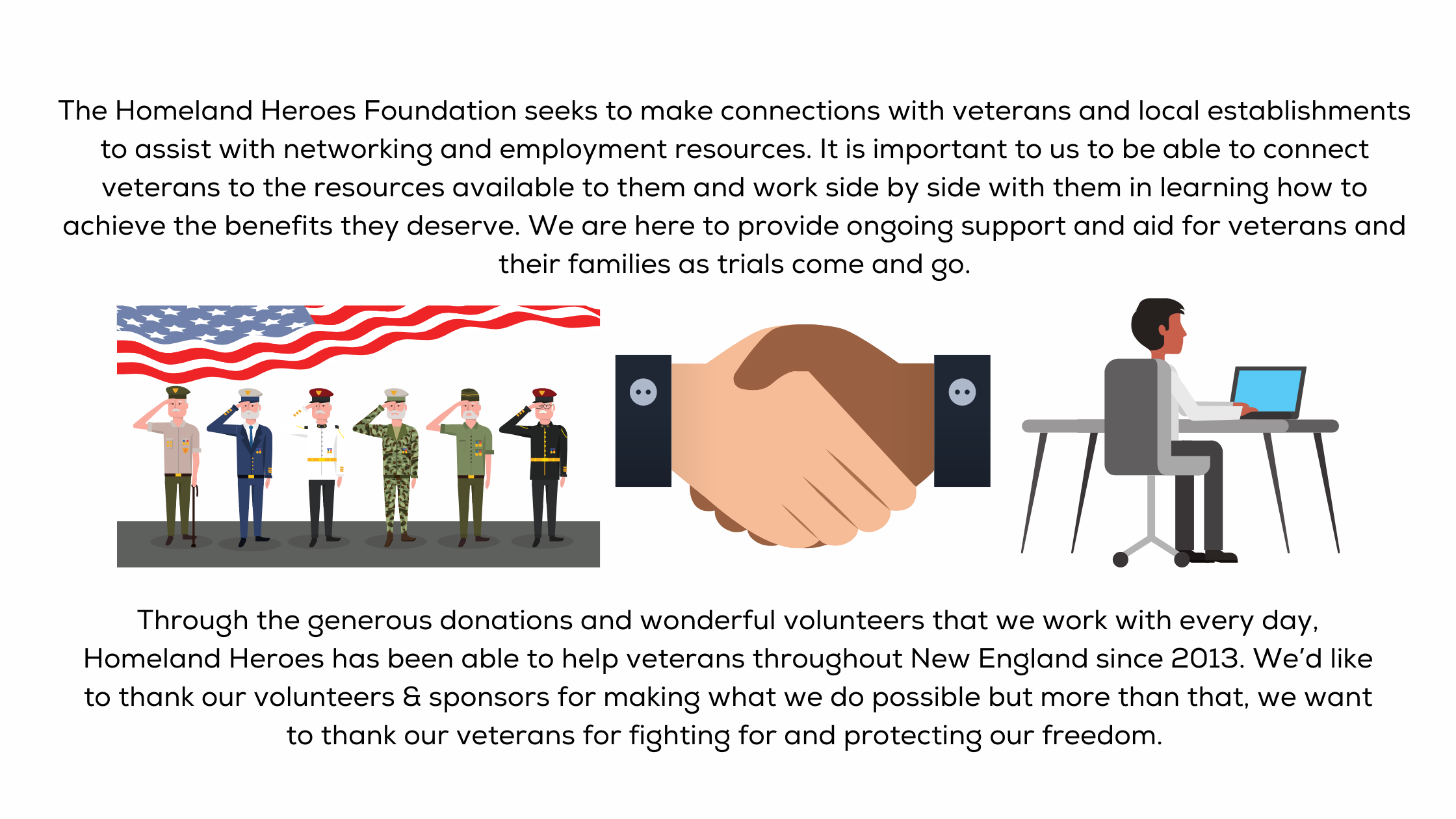 The Homeland Heroes foundation seeks to make connections with veterans and local establishments to assist with networking and employment resources. It is important to us to be able to connect veterans to the resources available to them and work side by side with them in learning how to achieve the benefits they deserve. We are here to provide ongoing support and aid for veterans and their families as trials come and go. Through the generous donations and wonderful volunteers that we work with every day, Homeland Heroes has been able to help veterans throughout New England since 2013. We'd like to thank our volunteers & sponsors for making what we do possible but more than that, we want to thank our veterans for fighting for and protecting our freedom.